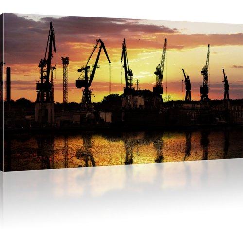 Kräne am Hafen als Kunstdruck