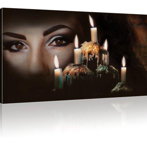 Frauengesicht mit Kerzen als Kunstdruck