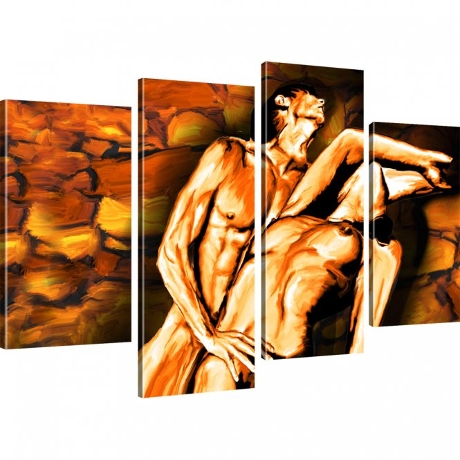 Erotik Bild auf Leinwand 4-Teilig: 100x60 cm   Mehrfarbig