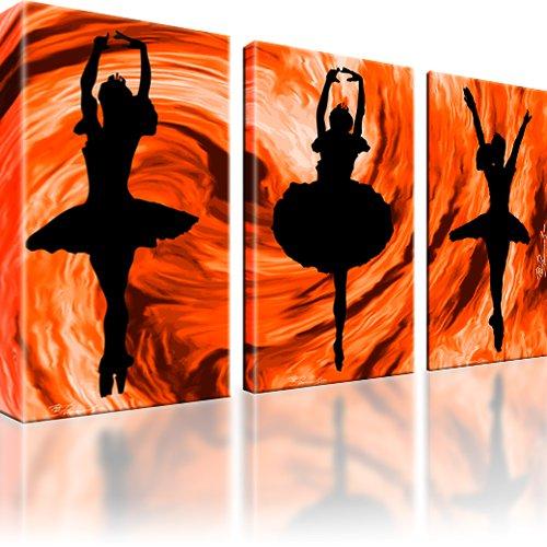 Frau Ballet Tanz Wandbild 3-Teilig: 105x60 cm