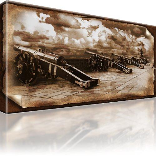 Kanonen Landschaft Retro Kunstdruck
