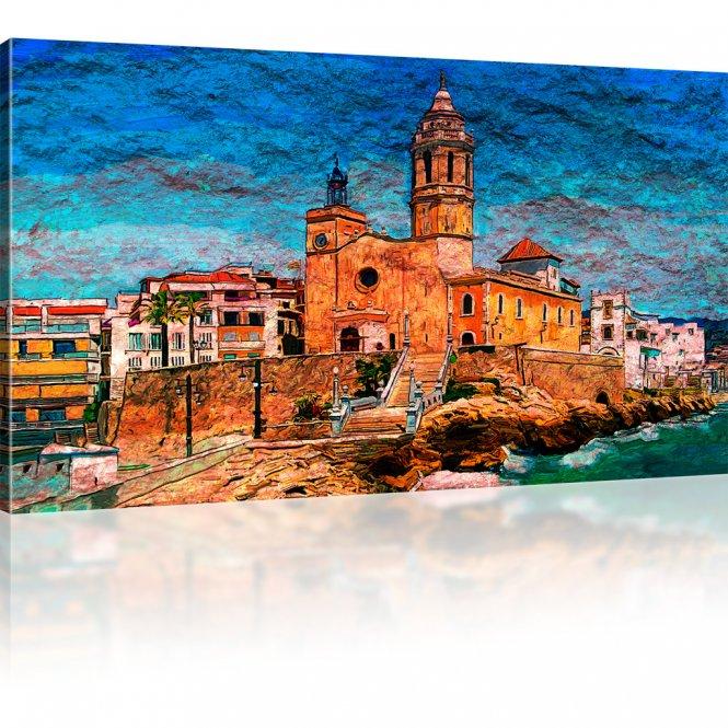 Kirche Sant Bartomeu i Santa Tecla de Sitges in Spanien Wandbild