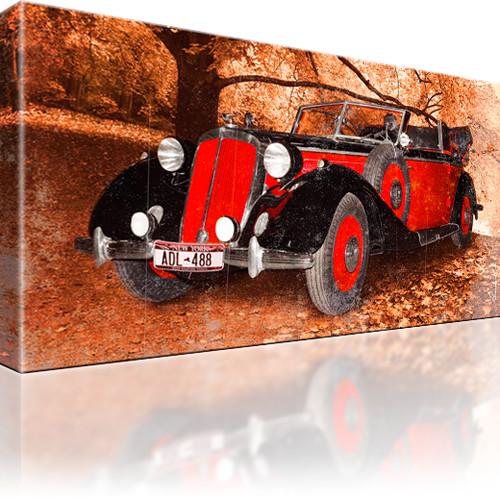 Auto Oldtimer Fahrzeug Leinwandbild 1-Teilig: 80x45 cm | Rot