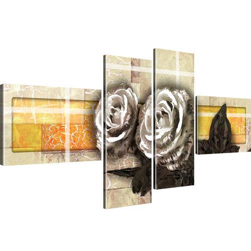 Rosen Blumen Kunst Wandbild 4-Teilig: 130x60 cm