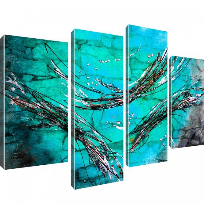 Abstraktion Streifen Kunstdruck 4-Teilig: 100x60 cm | Grün