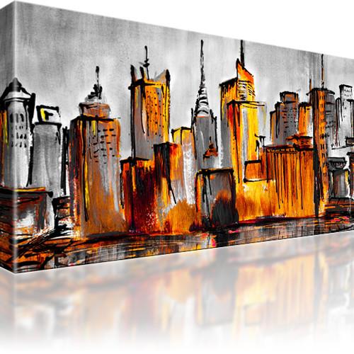 Manhattan Skyline New York Stadt Bild auf Leinwand 1-Teilig: 100x55 cm | Gelb