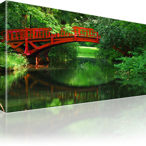 Brücke Fluss Natur Bild auf Leinwand
