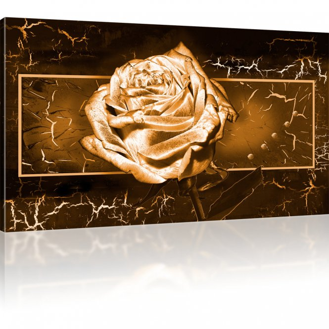 goldene rose wandbilder auf leinwand 1 teilig 100x55 cm sepia. Black Bedroom Furniture Sets. Home Design Ideas