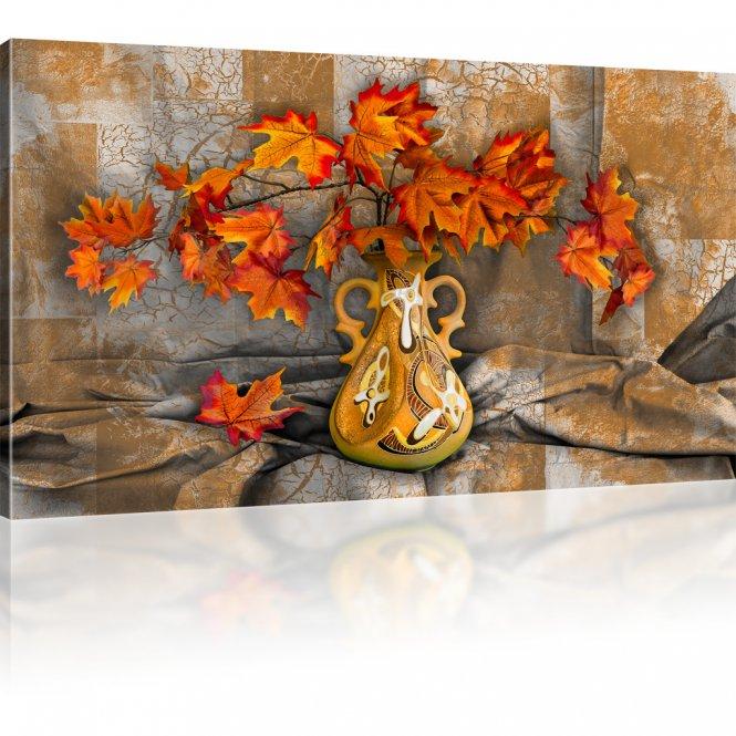 Laub Blätter im Herbst Bild auf Leinwand