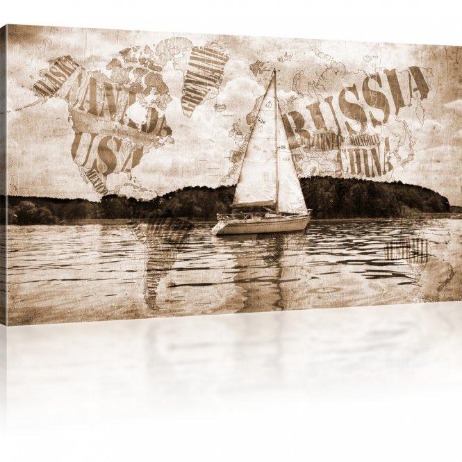 Weltkarte mit Segelschiff Leinwanddruck