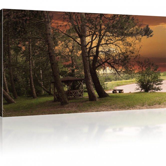 Sonnenuntergang im Park als Wandbild