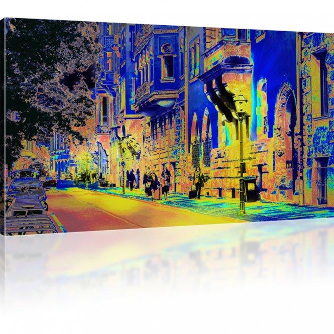 Stadtstraße in Deutschland als Kunstdruck