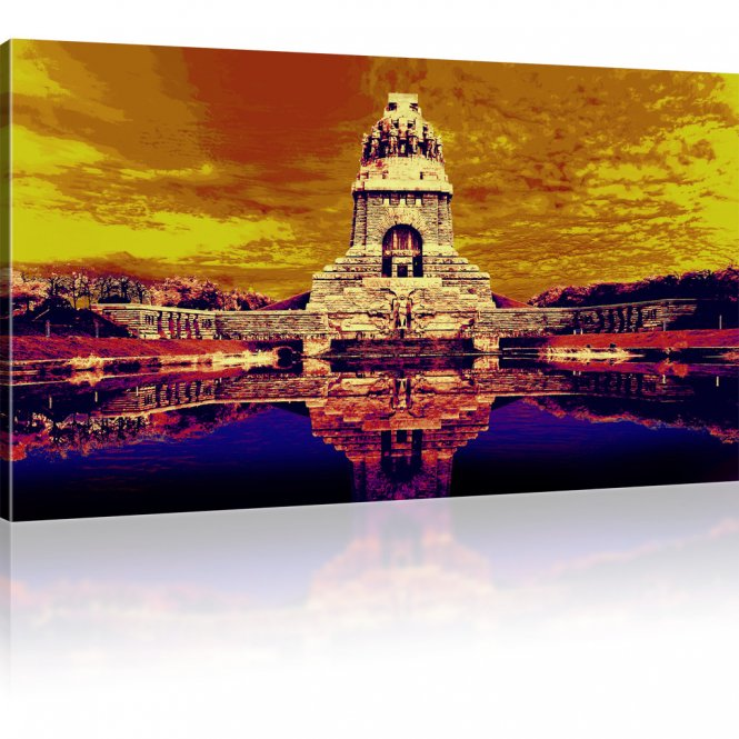 Goldenes Völkerschlachtdenkmal als Kunstdruck