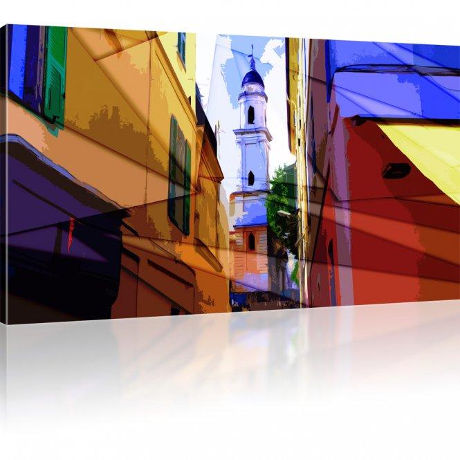 Kirche in dem Altstadtviertel als Kunstdruck