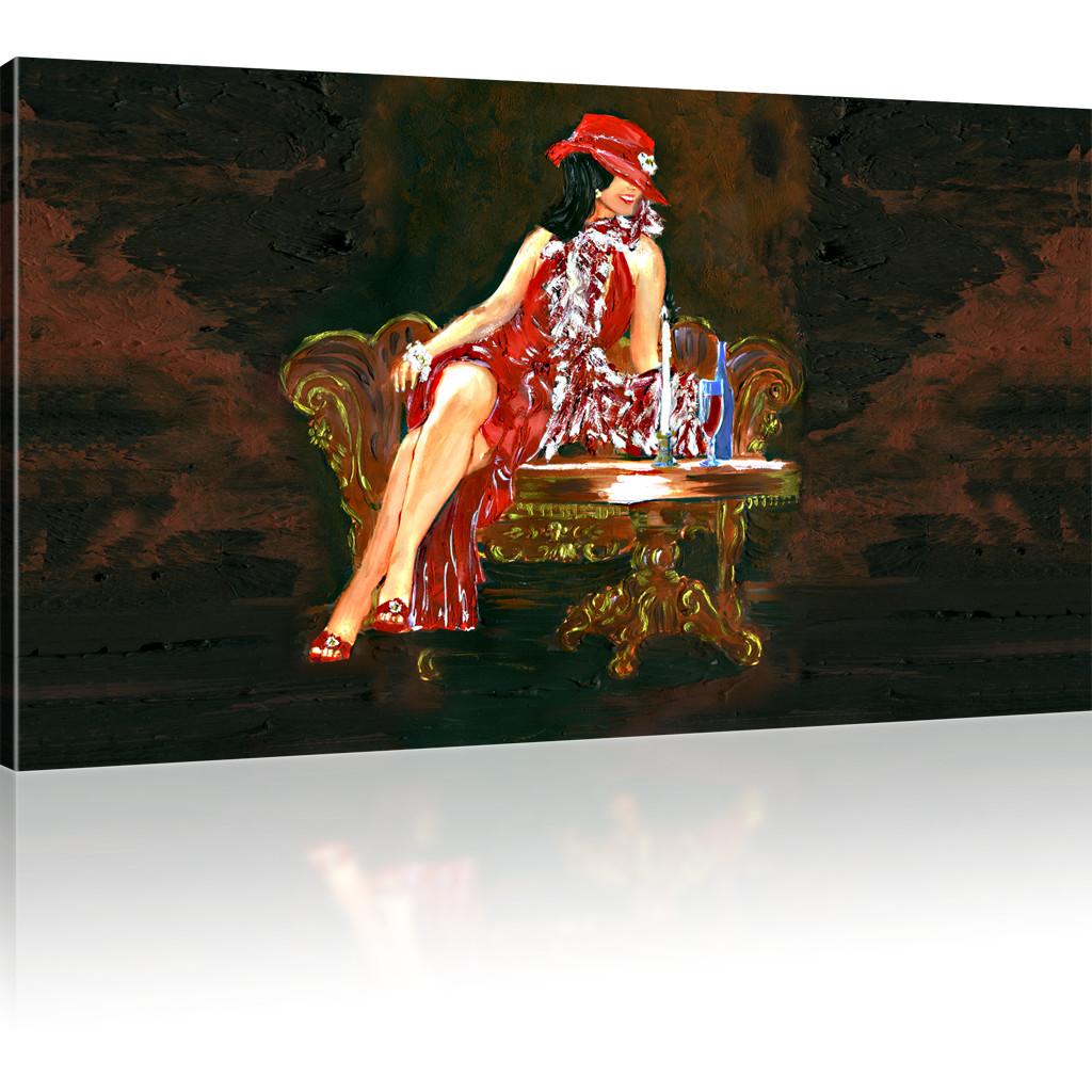 elegante dame bild auf leinwand. Black Bedroom Furniture Sets. Home Design Ideas
