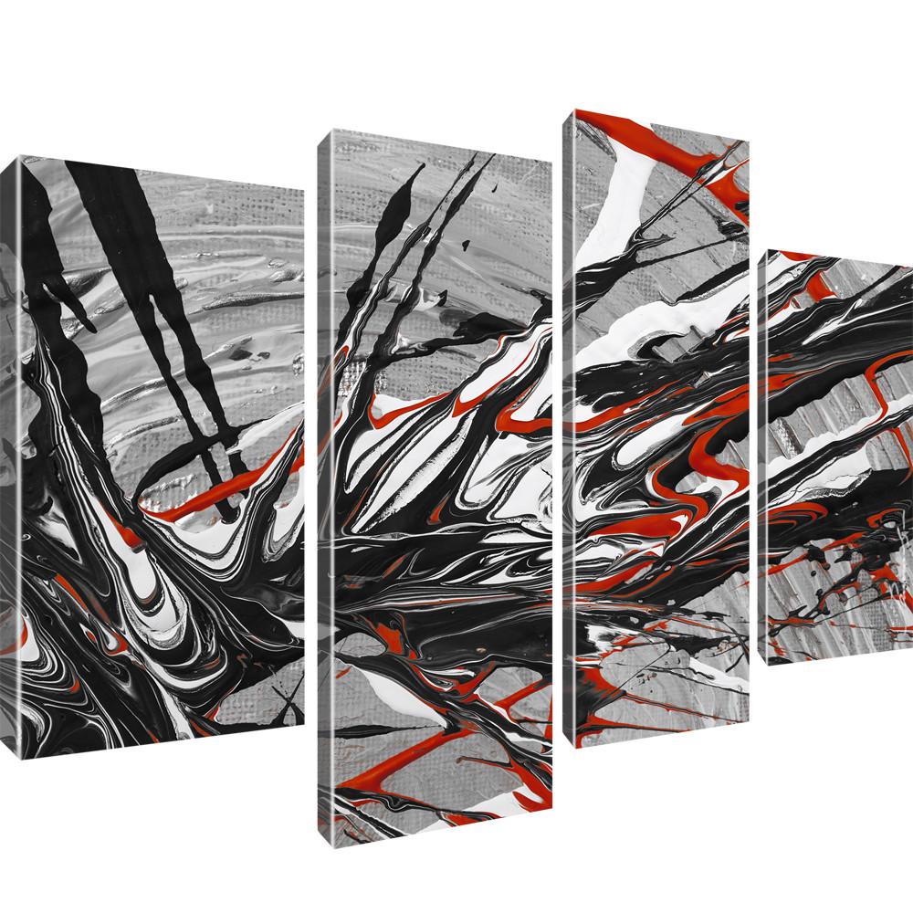 abstrakt bild auf leinwand 4 teilig 100x60 cm. Black Bedroom Furniture Sets. Home Design Ideas